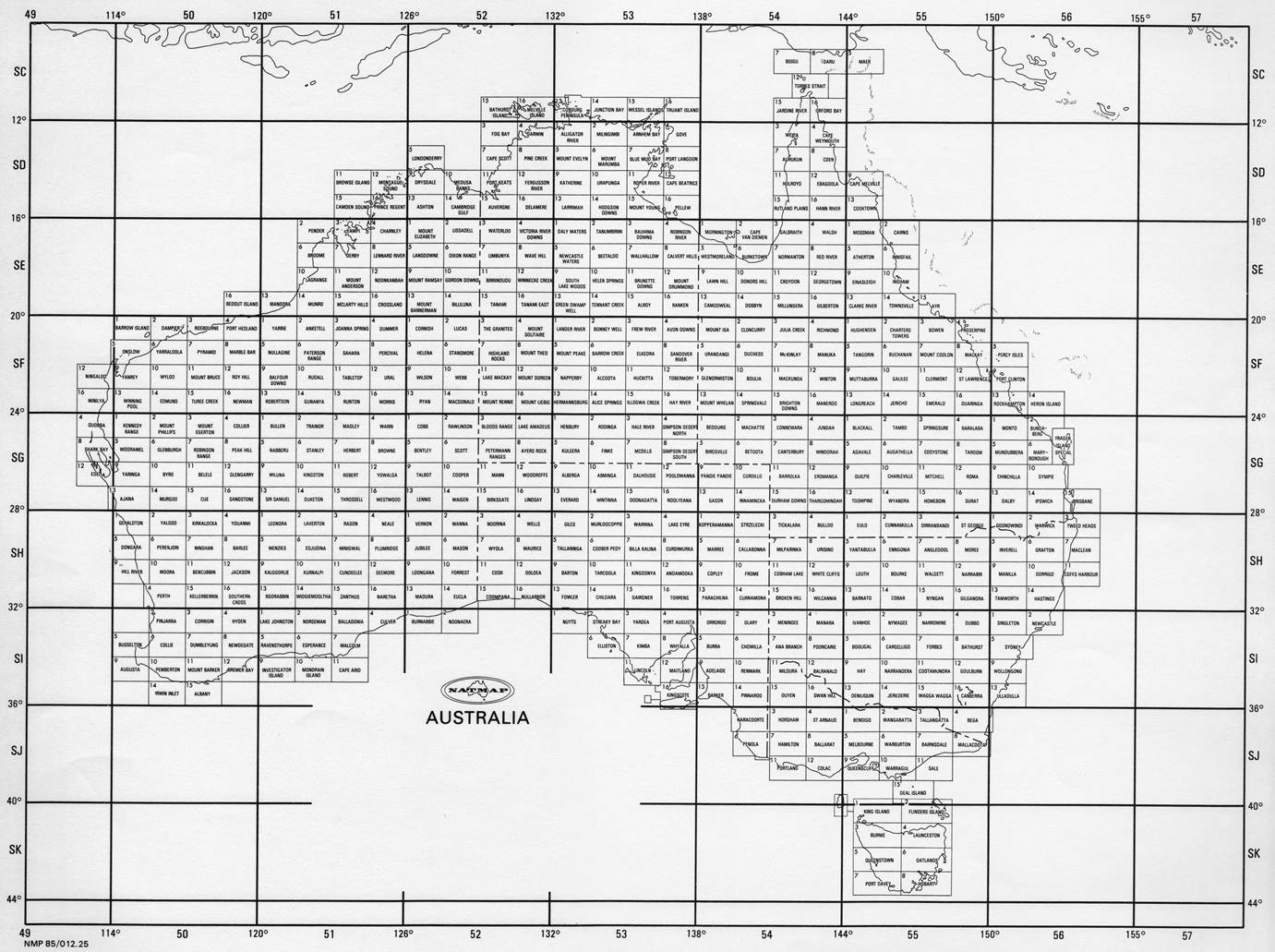 Map Grid Of Australia Zone 50.Map Id