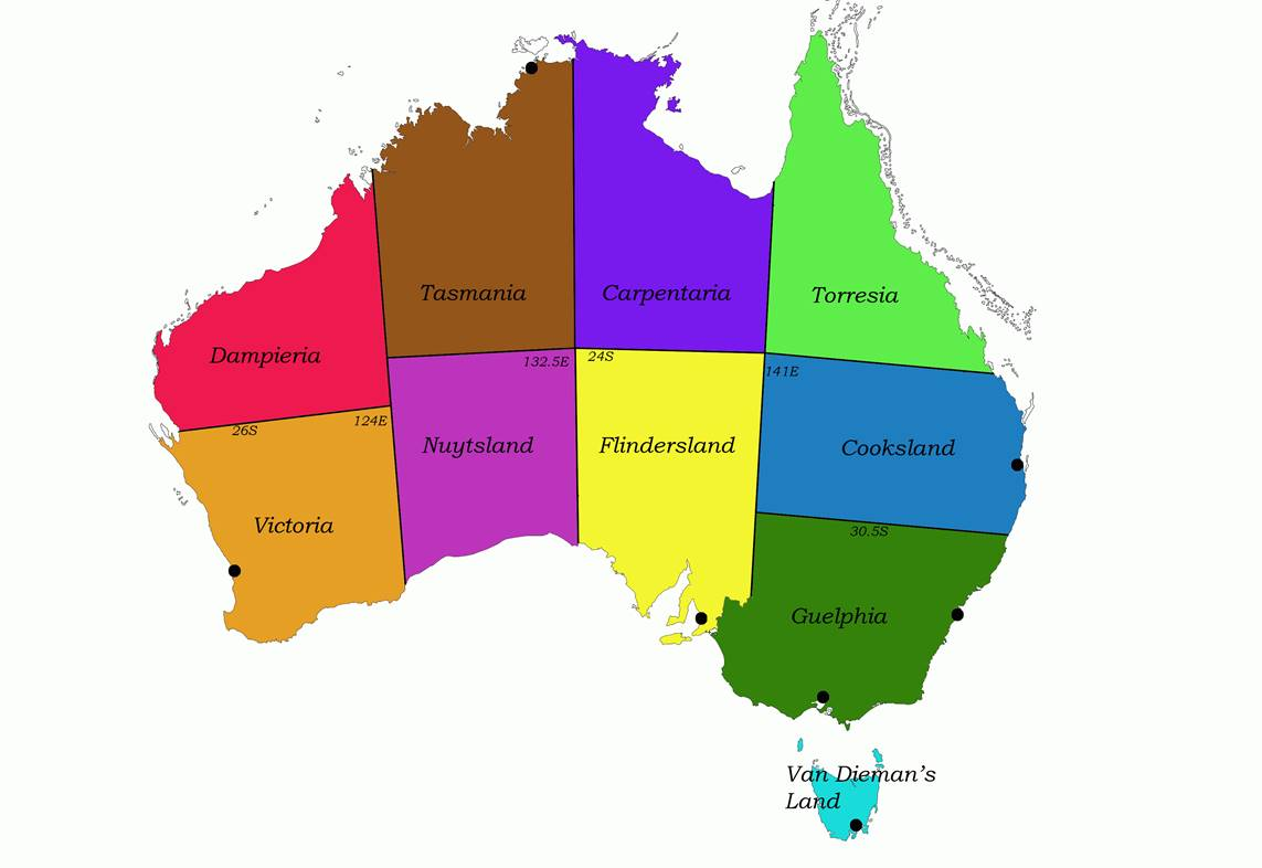 Map Of Australia With State Borders.Aust State Borders